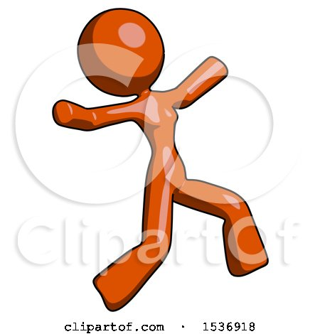 Orange Design Mascot Woman Running Away in Hysterical Panic Direction Right by Leo Blanchette