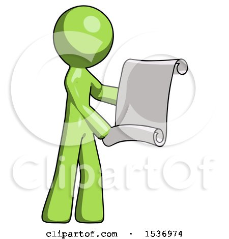 Green Design Mascot Man Holding Blueprints or Scroll by Leo Blanchette