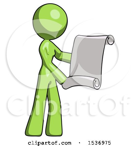 Green Design Mascot Woman Holding Blueprints or Scroll by Leo Blanchette