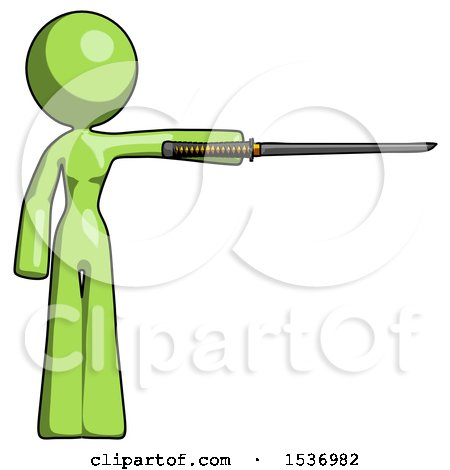 Green Design Mascot Woman Standing with Ninja Sword Katana Pointing Right by Leo Blanchette