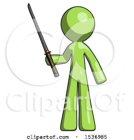Green Design Mascot Man Standing up with Ninja Sword Katana by Leo Blanchette