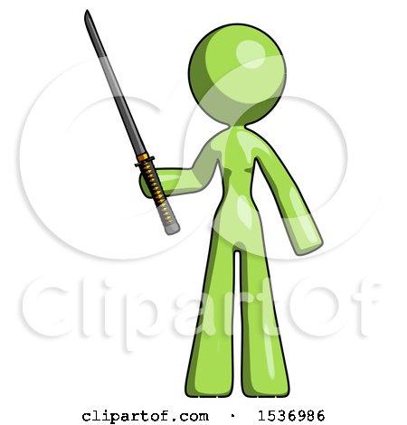 Green Design Mascot Woman Standing up with Ninja Sword Katana by Leo Blanchette