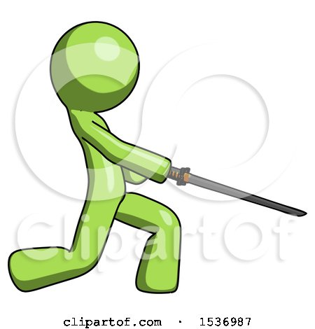 Green Design Mascot Man with Ninja Sword Katana Slicing or Striking Something by Leo Blanchette