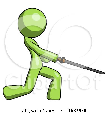 Green Design Mascot Woman with Ninja Sword Katana Slicing or Striking Something by Leo Blanchette