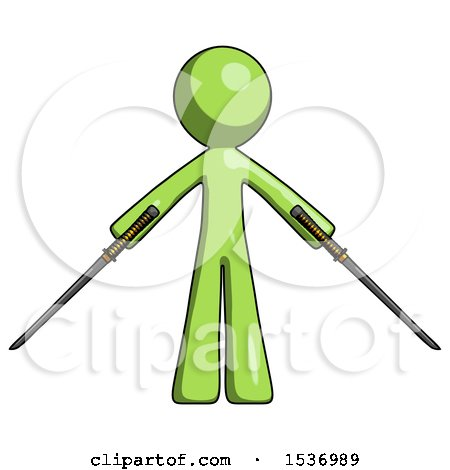 Green Design Mascot Man Posing with Two Ninja Sword Katanas by Leo Blanchette