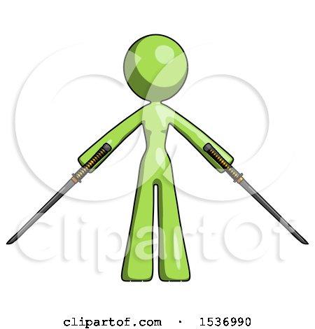 Green Design Mascot Woman Posing with Two Ninja Sword Katanas by Leo Blanchette