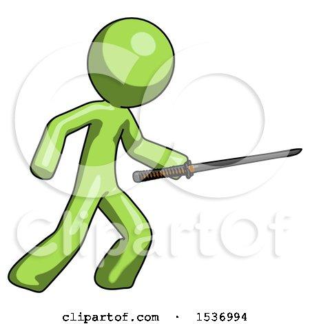 Green Design Mascot Man Stabbing with Ninja Sword Katana by Leo Blanchette