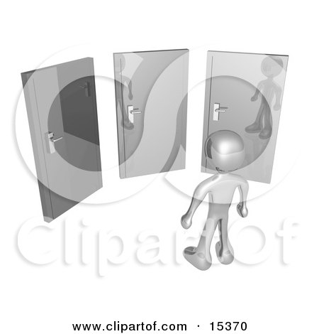 Silver Figure Standing In Front Of Three Different Doors, Symbolizing Different Paths To Take For Job Opportunities Or Life Choices Clipart Illustration Image by 3poD