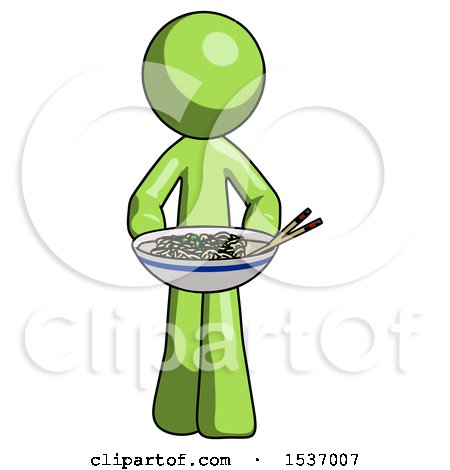 Green Design Mascot Man Serving or Presenting Noodles by Leo Blanchette