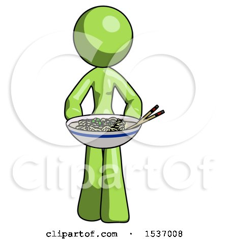 Green Design Mascot Woman Serving or Presenting Noodles by Leo Blanchette