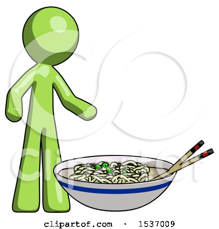 Green Design Mascot Man and Noodle Bowl, Giant Soup Restaraunt Concept by Leo Blanchette