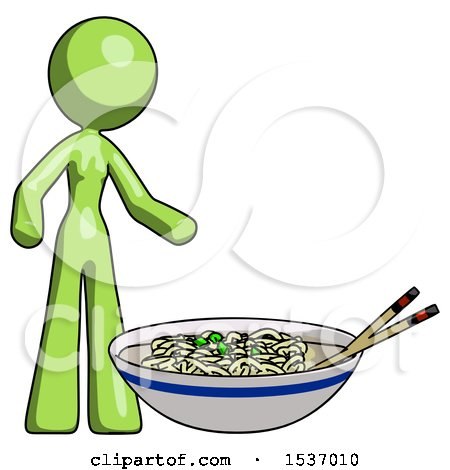 Green Design Mascot Woman and Noodle Bowl, Giant Soup Restaraunt Concept by Leo Blanchette