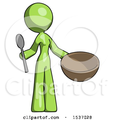 Green Design Mascot Woman with Empty Bowl and Spoon Ready to Make Something by Leo Blanchette