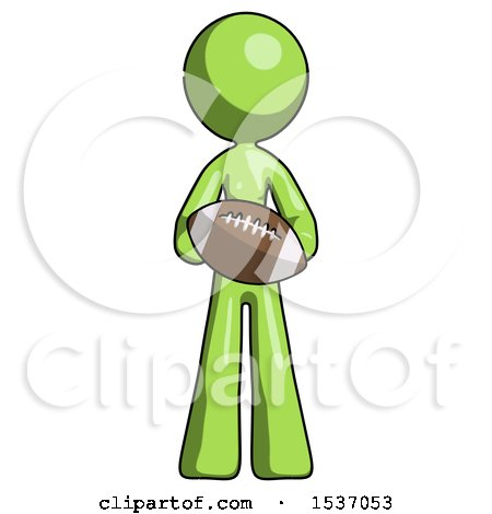 Green Design Mascot Woman Giving Football to You by Leo Blanchette