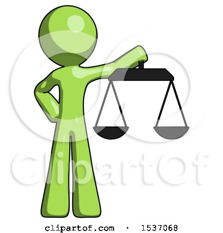 Green Design Mascot Man Holding Scales of Justice by Leo Blanchette