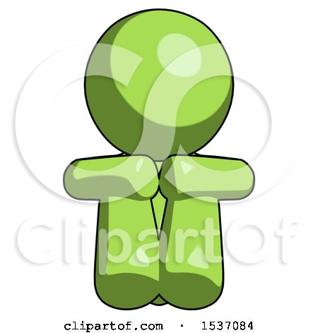 Green Design Mascot Man Sitting with Head down Facing Forward by Leo Blanchette