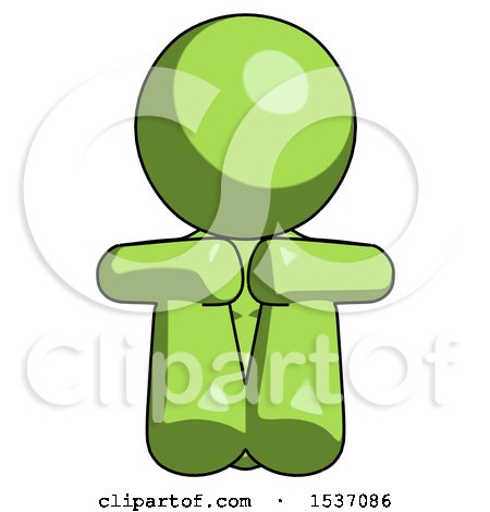 Green Design Mascot Woman Sitting with Head down Facing Forward by Leo Blanchette