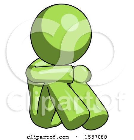 Green Design Mascot Woman Sitting with Head down Facing Angle Right by Leo Blanchette