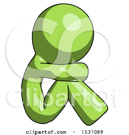 Green Design Mascot Man Sitting with Head down Facing Sideways Right by Leo Blanchette