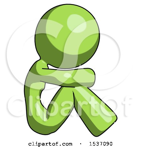 Green Design Mascot Woman Sitting with Head down Facing Sideways Right by Leo Blanchette