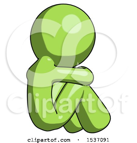 Green Design Mascot Man Sitting with Head down Back View Facing Right by Leo Blanchette