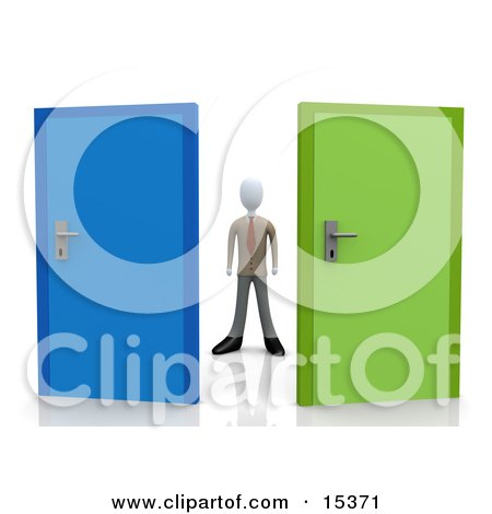 Uncertain Businessman Standing Between A Blue And A Green Door, Trying To Decide Which Career Path To Take Clipart Illustration Image by 3poD