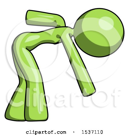 Green Design Mascot Woman Bent over Picking Something up by Leo Blanchette