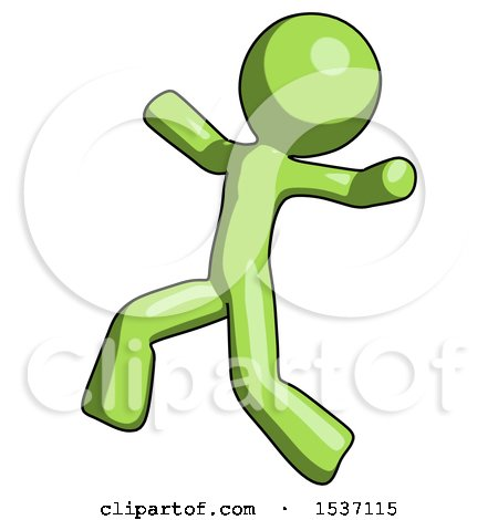 Green Design Mascot Man Running Away in Hysterical Panic Direction Left by Leo Blanchette