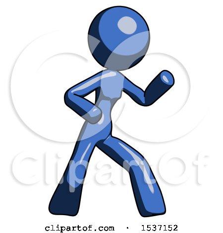 Blue Design Mascot Woman Martial Arts Defense Pose Right by Leo Blanchette