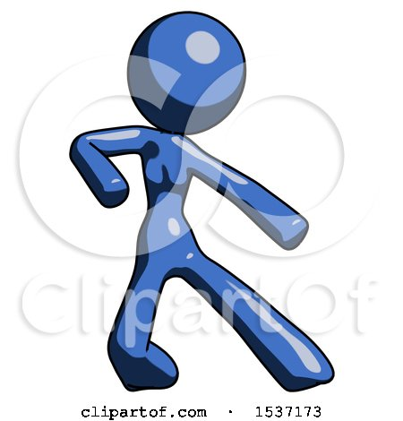 Blue Design Mascot Woman Karate Defense Pose Right by Leo Blanchette