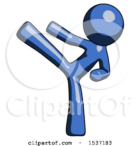 Blue Design Mascot Man Ninja Kick Left by Leo Blanchette