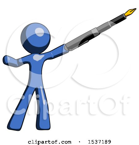 Blue Design Mascot Man Pen Is Mightier Than the Sword Calligraphy Pose Posters, Art Prints