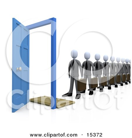 Line Of Businessmen Carrying Briefcases, Standing In Front Of An Open Blue Door, Symbolizing Job Applicants Or Great Job Opportunities And Advancement Clipart Illustration Image by 3poD