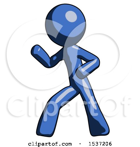 Blue Design Mascot Man Martial Arts Defense Pose Left by Leo Blanchette