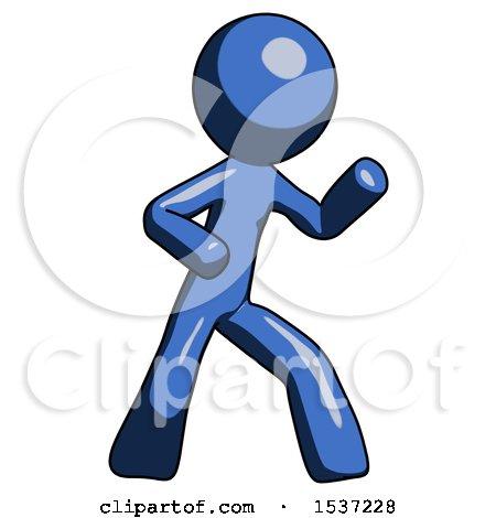 Blue Design Mascot Man Martial Arts Defense Pose Right by Leo Blanchette