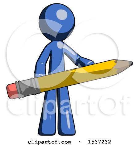 Blue Design Mascot Man Writer or Blogger Holding Large Pencil by Leo Blanchette