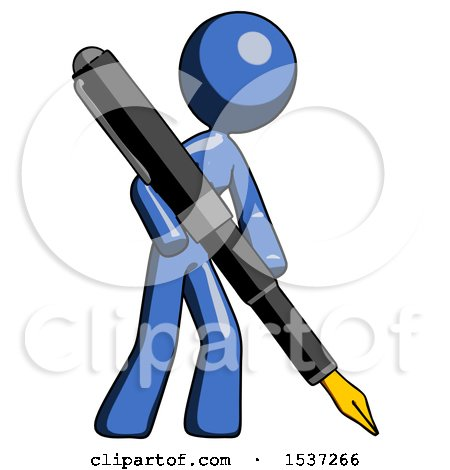 Blue Design Mascot Woman Drawing or Writing with Large Calligraphy Pen Posters, Art Prints
