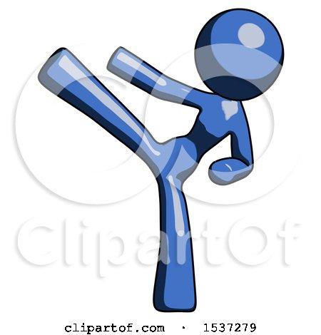 Blue Design Mascot Woman Ninja Kick Left by Leo Blanchette