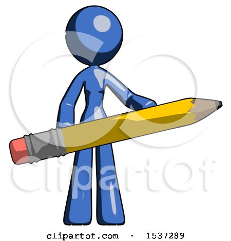 Blue Design Mascot Woman Office Worker or Writer Holding a Giant Pencil by Leo Blanchette