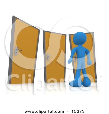 Blue Figure Standing In Front Of Three Different Doors, Symbolizing Different Paths To Take For Job Opportunities Or Life Choices Clipart Illustration Image by 3poD