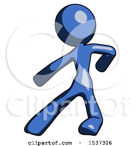 Blue Design Mascot Woman Karate Defense Pose Left by Leo Blanchette