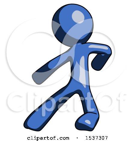 Blue Design Mascot Man Karate Defense Pose Left by Leo Blanchette