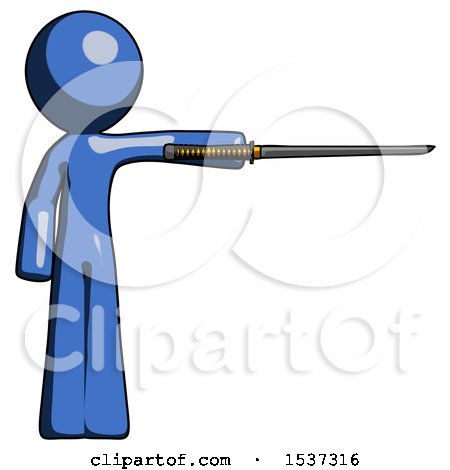 Blue Design Mascot Man Standing with Ninja Sword Katana Pointing Right by Leo Blanchette