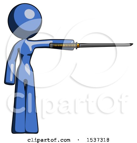 Blue Design Mascot Woman Standing with Ninja Sword Katana Pointing Right by Leo Blanchette