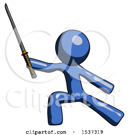 Blue Design Mascot Man with Ninja Sword Katana in Defense Pose by Leo Blanchette