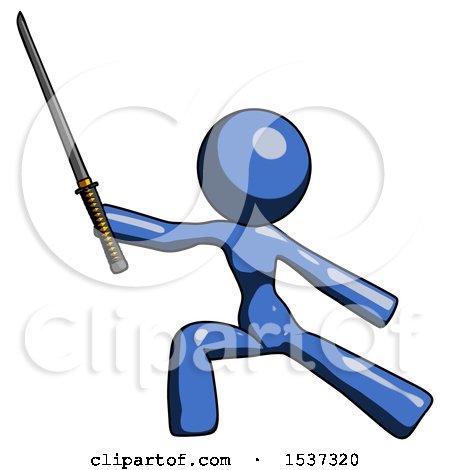 Blue Design Mascot Woman with Ninja Sword Katana in Defense Pose by Leo Blanchette