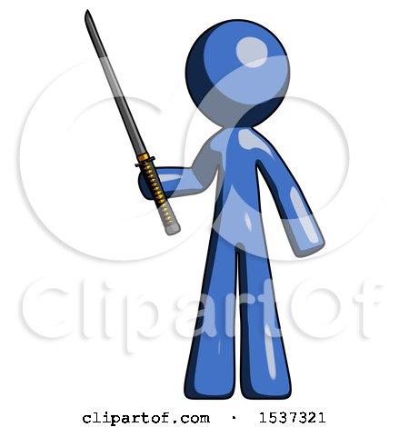 Blue Design Mascot Man Standing up with Ninja Sword Katana by Leo Blanchette