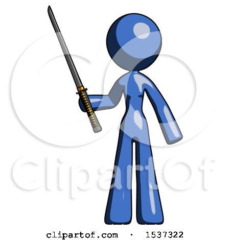 Blue Design Mascot Woman Standing up with Ninja Sword Katana by Leo Blanchette
