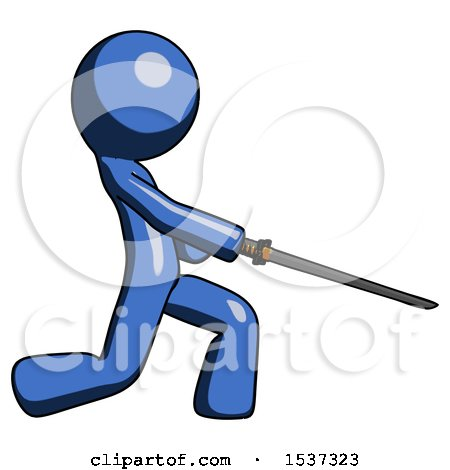 Blue Design Mascot Man with Ninja Sword Katana Slicing or Striking Something by Leo Blanchette