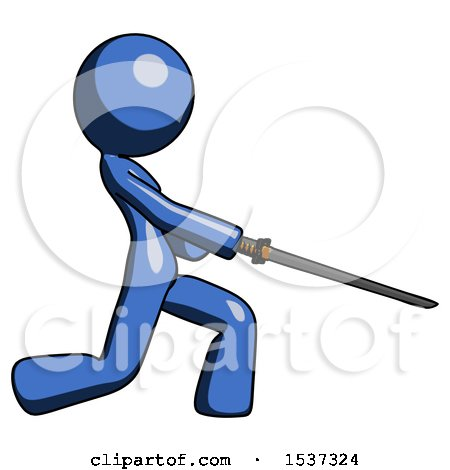 Blue Design Mascot Woman with Ninja Sword Katana Slicing or Striking Something by Leo Blanchette